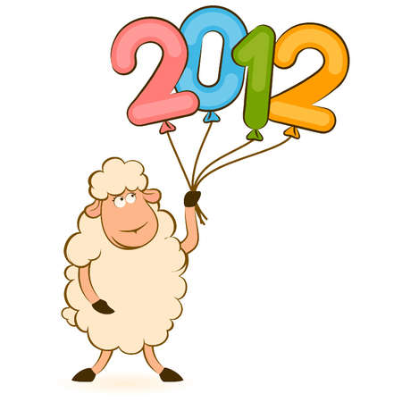 Cartoon funny sheep with 2012 balloons. Vector Christmas illustration Vector