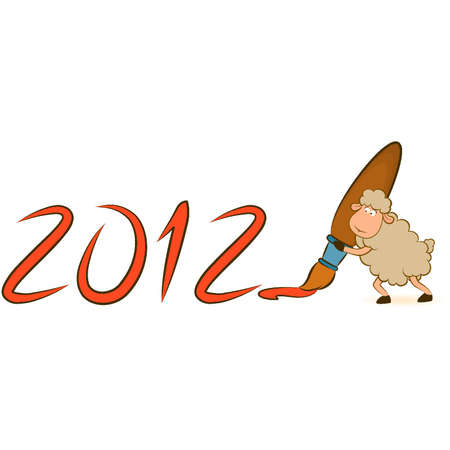 Cartoon funny sheep write numbers 2012 year. Vector Christmas illustration Vector