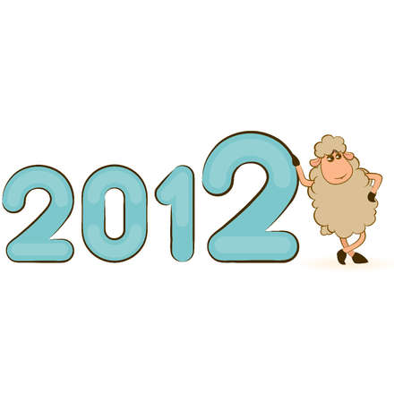 Cartoon funny sheep with numbers 2012 year. Vector Christmas illustration Vector