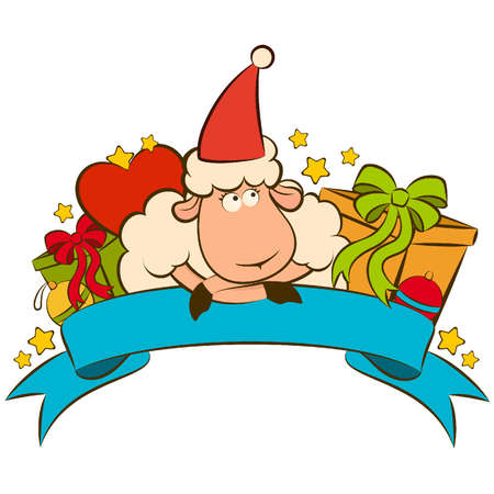 Cartoon funny sheep with gifts. Vector Christmas illustration Vector