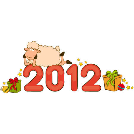 Cartoon funny sheep and numbers 2012 year. Vector Christmas illustration Vector
