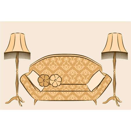 furnishing: Prachtig klassiek interieur voor het ontwerp. Vector