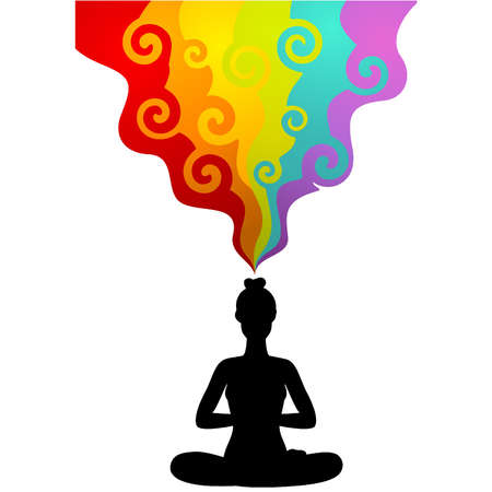 aura: Sch�ne Frau sitzt in Yoga Lotussitz. Vektor-Illustration Illustration