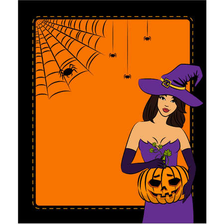 Girl witch with pumpkin in Halloween style. Vector illustration Vector