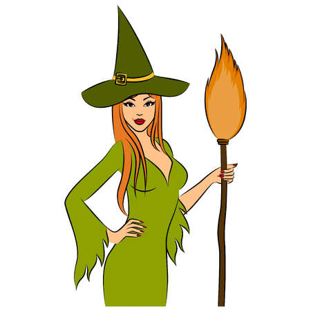 Girl witch with broom in Halloween style. Vector illustration Vector