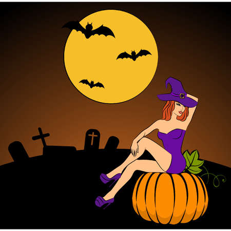 Girl witch in Halloween style. Vector illustration Stock Vector - 11277700
