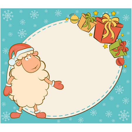 Cartoon funny sheep with gifts. Vector Christmas illustration Stock Vector - 11277698