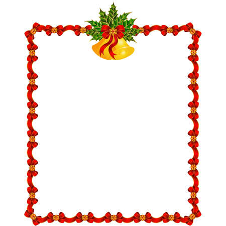 christmas bells: Beautiful Christmas background with garland and bells. Vector