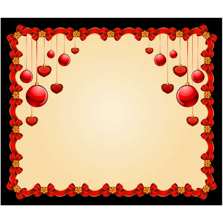 Beautiful Christmas frame with balls. Vector Vector