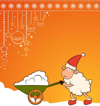 Christmas funny sheep with snow. photo