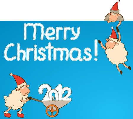 Christmas funny sheep and numbers 2012 year.  photo