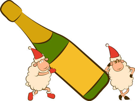 Christmas funny sheep with champagne bottles. Stock Photo - 11469140