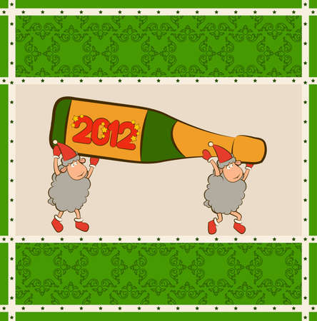 Christmas funny sheep with champagne bottles. photo
