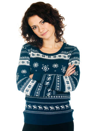 Beautiful  girl in Christmas sweater on white background Stock Photo - 11656122