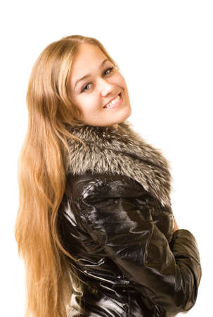 Young caucasian beautiful girl against white background. photo