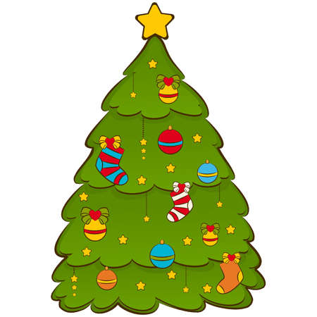 Cartoon Christmas fir-tree. Vector