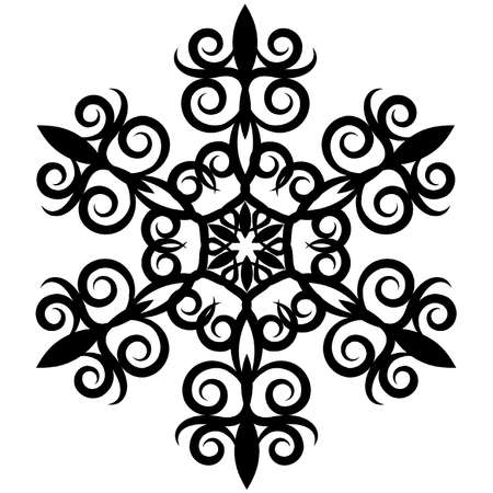 floral ornament: abstract element for a design,decorative Snowflake. Illustration