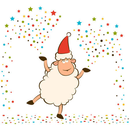 banger: Cartoon funny sheep with banger.