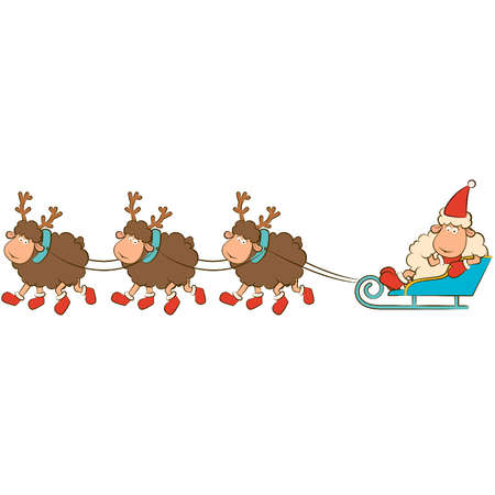 Cartoon funny deer with sledges. Vector