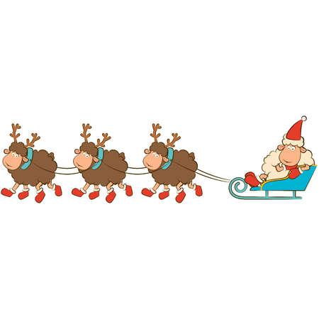 Cartoon funny deer with sledges. Stock Vector - 11655856
