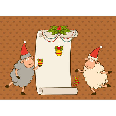 Cartoon funny sheep with gifts. Vector