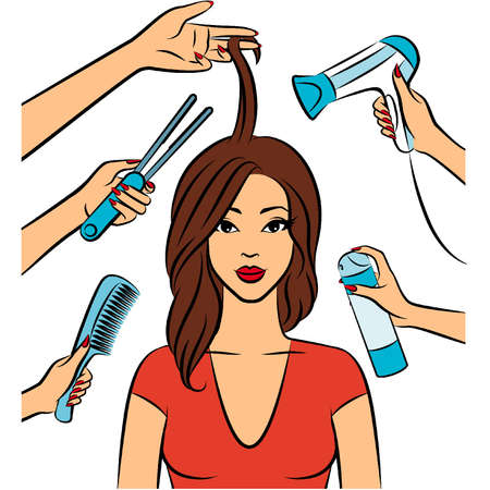Woman with coiffure in a beauty salon. Stock Vector - 11655875