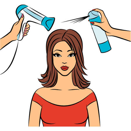 Woman with coiffure in a beauty salon. Vector