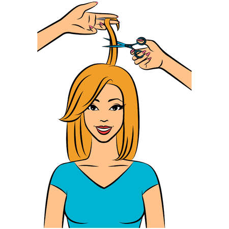 Woman with coiffure in a beauty salon. Stock Vector - 11655930