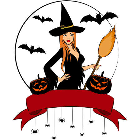 Girl witch with broom in Halloween style. Illustration