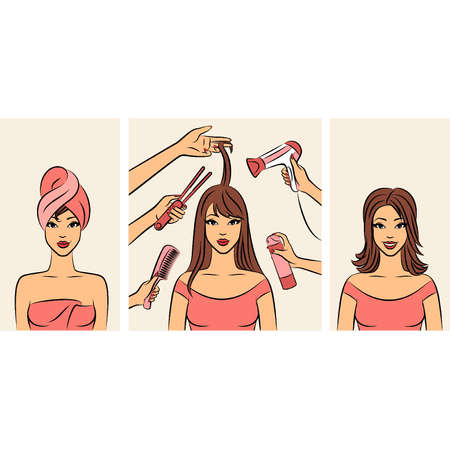Women with coiffure in a beauty salon. Vector