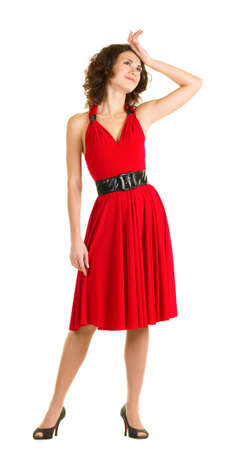 Sexy young woman in red dress isolated Stock Photo - 11778570
