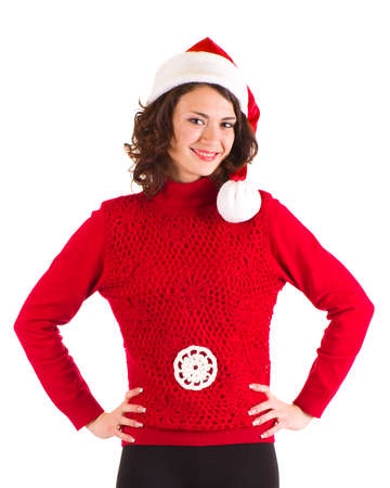 Beautiful pregnant girl in Santa Claus clothes photo
