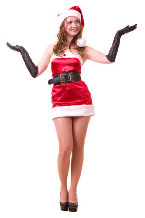 Beautiful young girl in Santa Claus clothes Stock Photo - 11778489