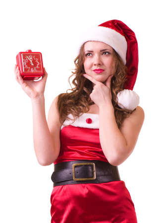 woman in Santa Claus clothes with Clock photo