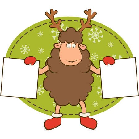Christmas funny deer with border frame. Vector