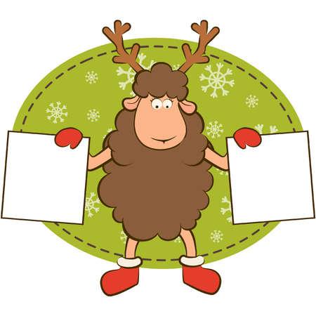 Christmas funny deer with border frame. Vector