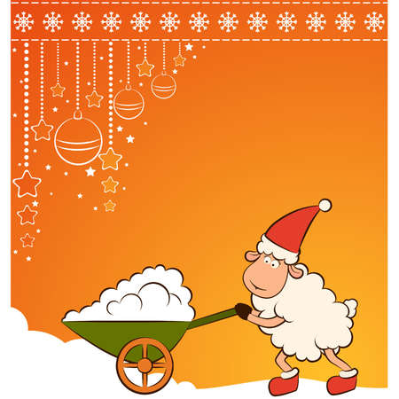 Christmas funny sheep with snow. Vector