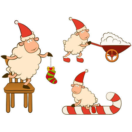 Christmas funny sheep. Vector