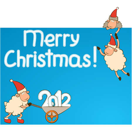 Christmas funny sheep and numbers 2012 year. Vector