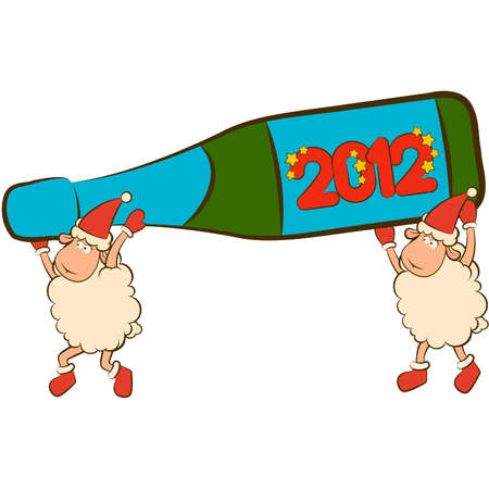 Christmas funny sheep with champagne bottles. Vector