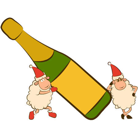 Christmas funny sheep with champagne bottles. Stock Vector - 11813235