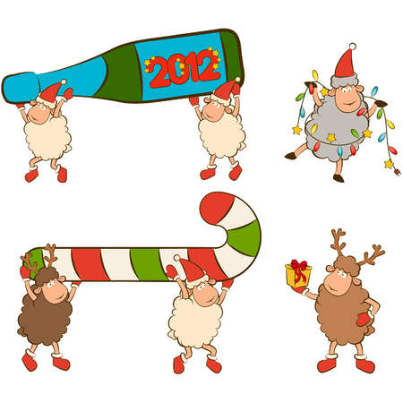 Christmas funny sheep with champagne bottles. Stock Vector - 11813264
