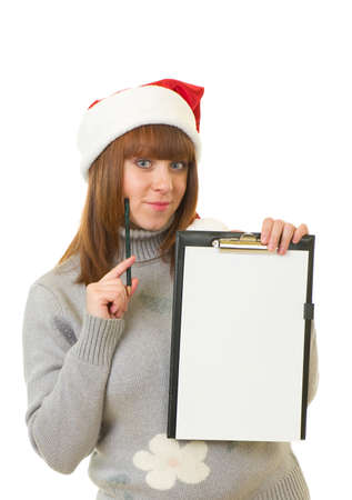 Beautiful young girl in Santa Claus clothes on white background Stock Photo - 11778354