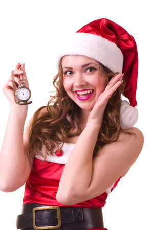 Beautiful young woman in Santa Claus clothes with Clock  photo