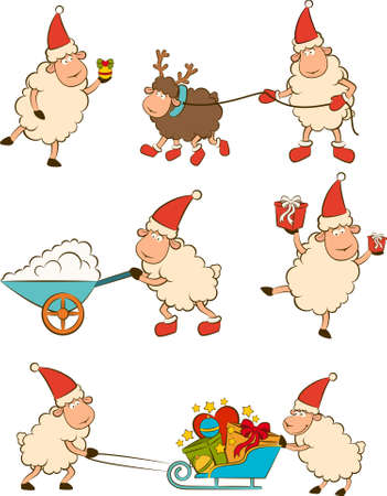 Christmas funny sheep with gifts. photo