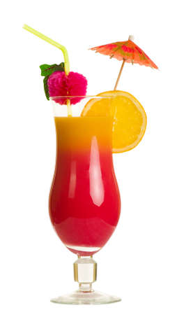Stock image of Tequila Sunrise cocktail over white background Stock Photo
