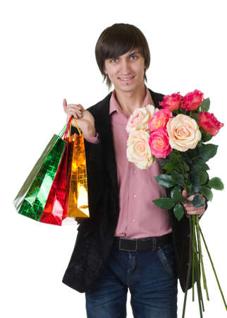 Valentines Man with flowers and shopping bags photo