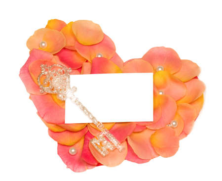 rose heart with banner to write it on your text and key photo