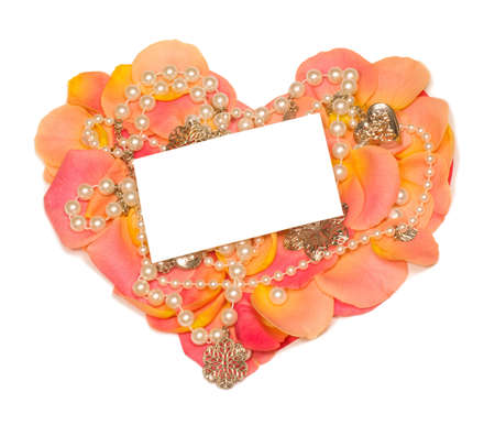 rose heart with  banner to write it on your text and beads photo