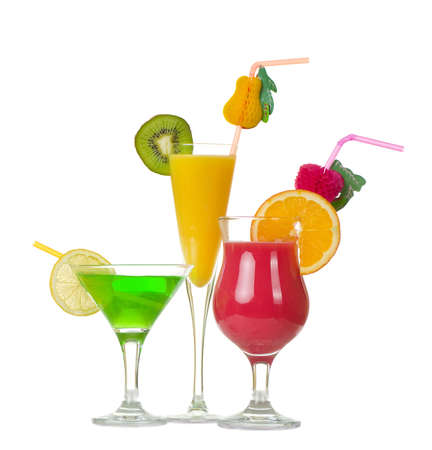 Stock image of Tequila Sunrise cocktail over white background 스톡 콘텐츠